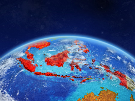 ASEAN member states on planet Earth with country borders and highly detailed planet surface and clouds. 3D illustration.