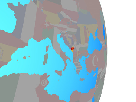 Montenegro with national flag on simple political globe. 3D illustration.