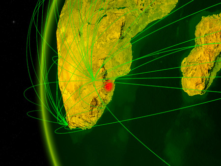 eSwatini from space on digital model of Earth with international networks. Concept of digital communication or travel. 3D illustration. Reklamní fotografie