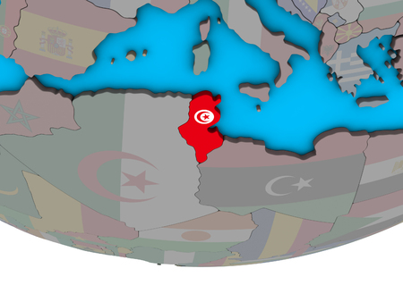 Tunisia with embedded national flag on simple political 3D globe. 3D illustration.