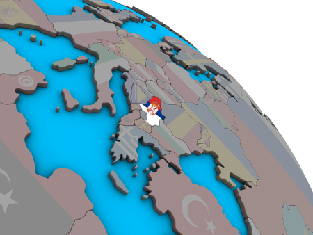 Serbia with embedded national flag on simple blue political 3D globe. 3D illustration. Imagens