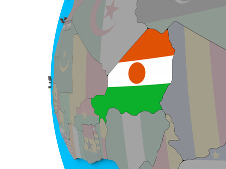 Niger with national flag on blue political 3D globe. 3D illustration. Stock Photo