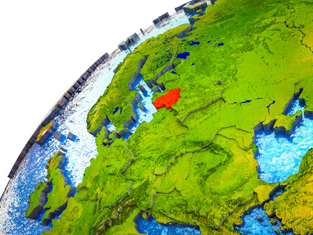 Lithuania on 3D Earth model with visible country borders. 3D illustration.