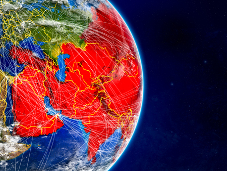Asia on planet Earth with networks. Extremely detailed planet surface and clouds. 3D illustration.