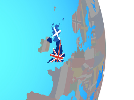 Scotland with national flag on simple political globe. 3D illustration.