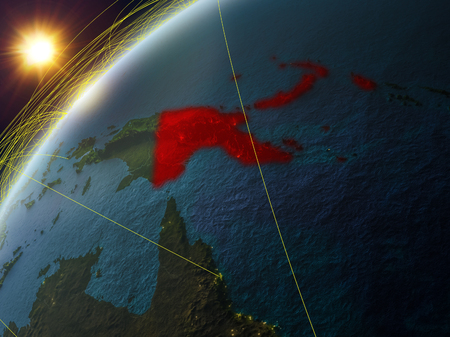 Papua New Guinea on model of planet Earth with network and international networks. Concept of digital communication and technology. 3D illustration.