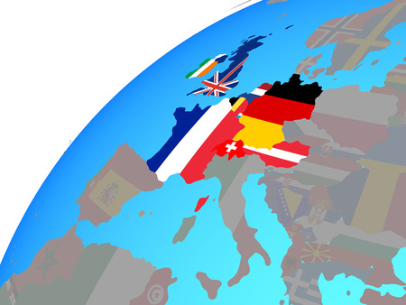 Western Europe with embedded national flags on globe. 3D illustration. Banco de Imagens