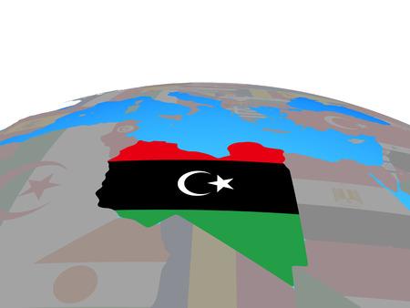 Libya with national flag on political globe. 3D illustration.