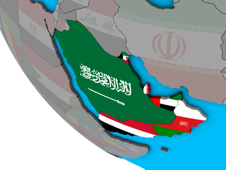 Arabia with embedded national flags on simple 3D globe. 3D illustration.