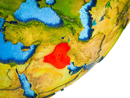Iraq on 3D model of Earth with water and divided countries. 3D illustration.