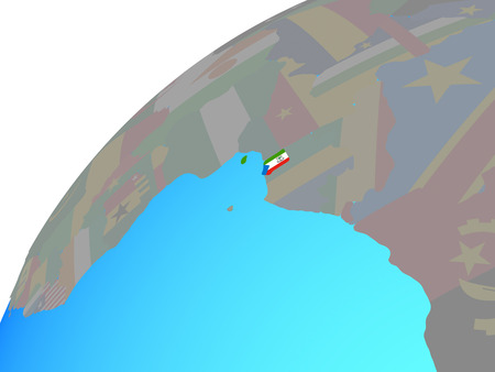 Equatorial Guinea with embedded national flag on globe. 3D illustration.