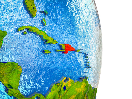 Dominican Republic on 3D model of Earth with divided countries and blue oceans. 3D illustration. 스톡 콘텐츠