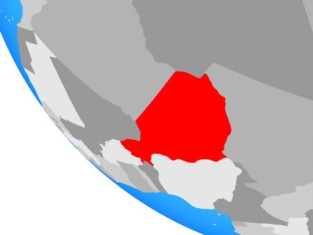 Niger on simple globe. 3D illustration.