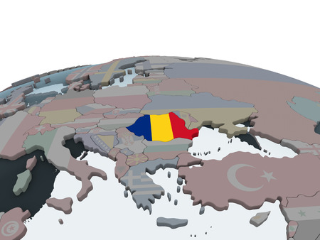 Romania on political globe with embedded flag. 3D illustration.