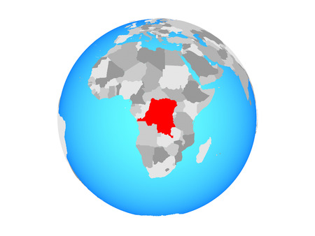 Dem Rep of Congo on blue political globe. 3D illustration isolated on white background.