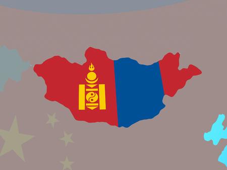 Mongolia with national flag on blue political globe. 3D illustration.