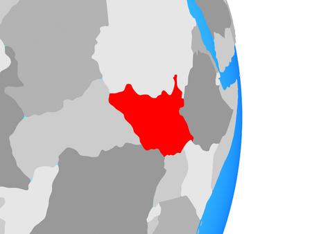 South Sudan on simple political globe. 3D illustration.