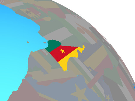 Cameroon with national flag on simple blue political globe. 3D illustration.