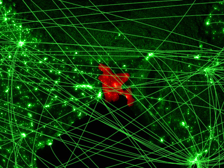 Bangladesh on green map with networks. Concept of international travel, communication and technology. 3D illustration.