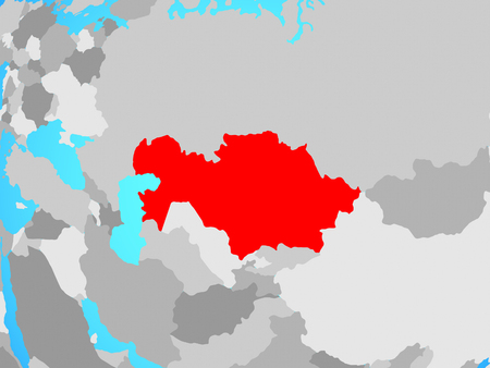 Kazakhstan on blue political globe. 3D illustration.