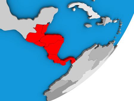 Central America on blue political 3D globe. 3D illustration.