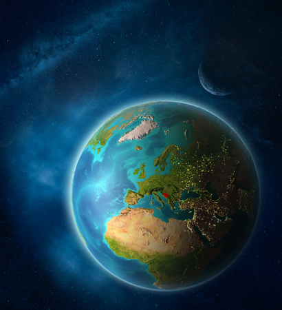 Bosnia and Herzegovina from space on planet Earth in space with Moon and Milky Way. Extremely fine detail of planet surface. 3D illustration. Stock Photo