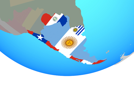 Southern Cone with national flags on simple political globe. 3D illustration.