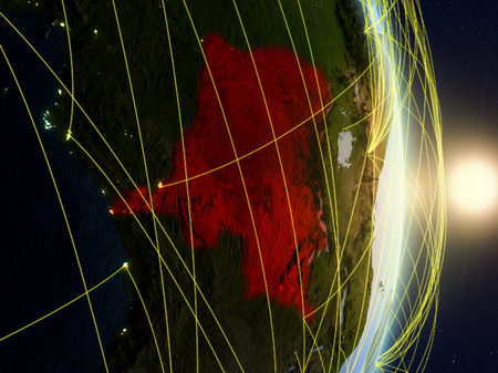 Dem Rep of Congo in sunrise on planet planet Earth with network. Concept of connectivity, travel and communication. 3D illustration. Banco de Imagens