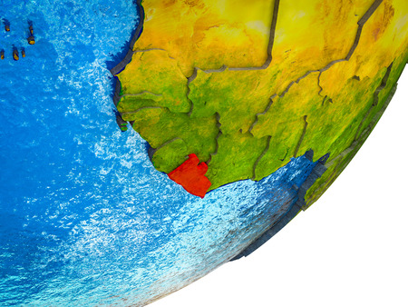 Liberia on 3D model of Earth with water and divided countries. 3D illustration. Stok Fotoğraf - 112834470