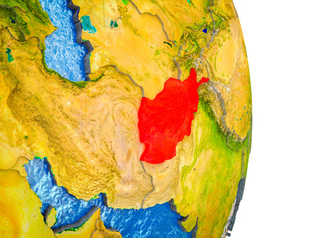 Afghanistan on 3D model of Earth with divided countries and blue oceans. 3D illustration.