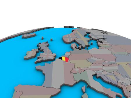 Belgium with embedded national flag on political 3D globe. 3D illustration. Imagens