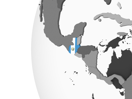 Guatemala on gray political globe with embedded flag. 3D illustration. Stock Photo