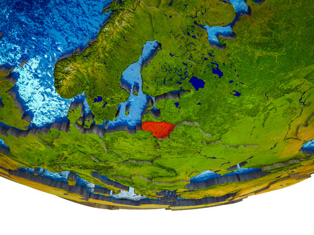 Lithuania on 3D Earth with divided countries and watery oceans. 3D illustration. Stock Photo