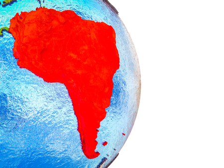South America on 3D model of Earth with divided countries and blue oceans. 3D illustration. Stok Fotoğraf
