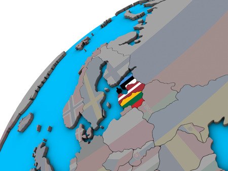Baltic States with national flags on 3D globe. 3D illustration.