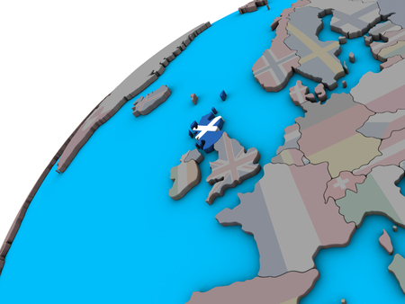 Scotland with national flag on 3D globe. 3D illustration.