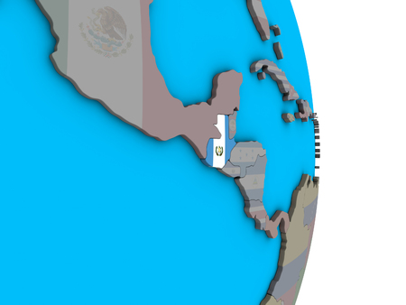 Guatemala with embedded national flag on simple political 3D globe. 3D illustration.