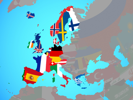 Western Europe with national flags on blue political globe. 3D illustration.