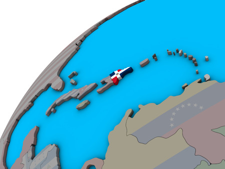 Dominican Republic with national flag on 3D globe. 3D illustration.