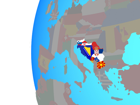 Former Yugoslavia with embedded national flags on blue political globe. 3D illustration.