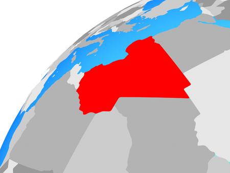 Libya on globe. 3D illustration.