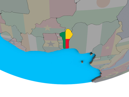 Benin with embedded national flag on simple political 3D globe. 3D illustration.