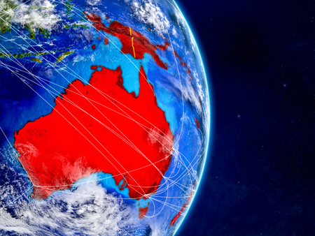 Australia on planet Earth with networks. Extremely detailed planet surface and clouds. 3D illustration.