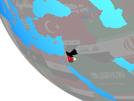 Jordan with national flag on simple globe. 3D illustration.
