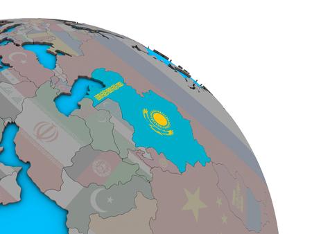 Kazakhstan with embedded national flag on simple blue political 3D globe. 3D illustration.