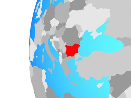 Bulgaria on blue political globe. 3D illustration. Stock Photo