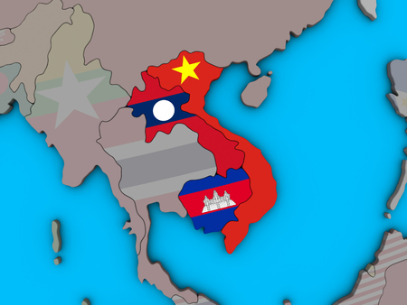 Indochina with embedded national flags on blue political 3D globe. 3D illustration. 版權商用圖片