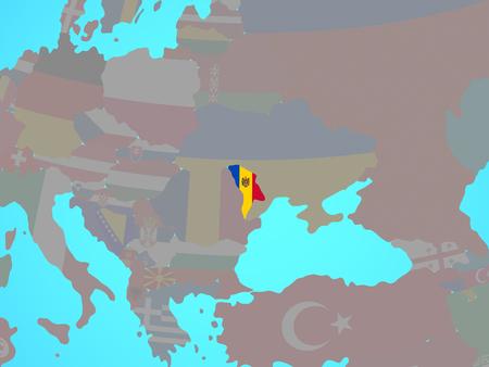 Moldova with national flag on blue political globe. 3D illustration.