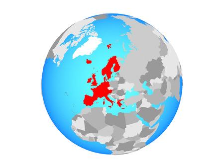 Western Europe on blue political globe. 3D illustration isolated on white background.