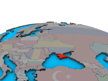 Crimea with embedded national flag on political 3D globe. 3D illustration.
